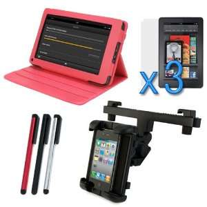 Leather Carrying Cover Case Folio with Built in Stand + 3 X LCD