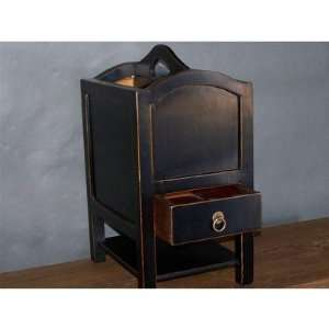 Asian Antique Magazine Stand in Distressed Black