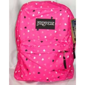 Jansport Classic Superbreak Backpack Hot Pink with Hearts
