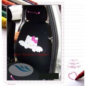 HELLO KITTY ANGEL UNIVERSAL CAR SEAT COVER SET BLACK H05 Automotive