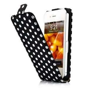 Black and White Polka Dot Pattern Magnet Flip Hard Leather