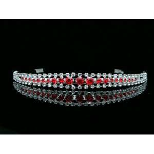 Bridal Red Rhinestone Crystal Princess Wedding Tiara Headband Beauty