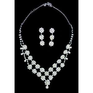 Rhinestones Pearl Alloy Bridal Wedding Jewelry Set Necklace Earrings