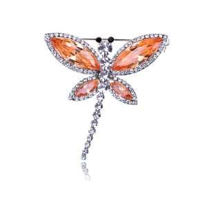Dragonfly Insect Wing Outline Swarovski Crystal Rhinestone Pin Brooch