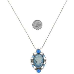 Fashion Jewelry ~ Blue Crystals Oval Cameo Necklace