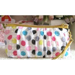 Polka dot Chiffon Cosmetic Messenger Makeup Pouch Bag Clutch Purse