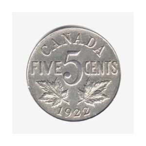 1922 Canada 5 Cents Coin KM#29 Everything Else