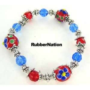 Glass & Silver Bali Bead Bracelet RED BLUE 243 Arts, Crafts & Sewing
