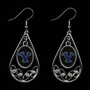 Cougars Ladies Tear Drop Crystal Dangle Earrings
