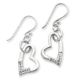 Silver w/ Swarovski Crystal Heart Earrings Jewelry