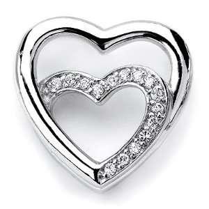 Cubic Zirconia Rhodium Plated 2 Heart Shape Fancy Pendant. Jewelry