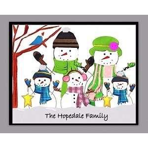 family snow men personalized art