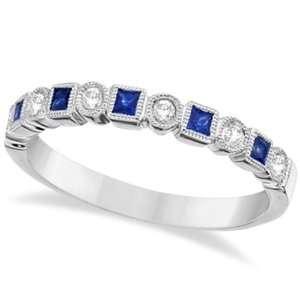 Princess Cut Blue Sapphire and Diamond Ring Band 14k White