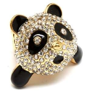 Stretch Ring Black White Crystals Gold tone CUTE NEW