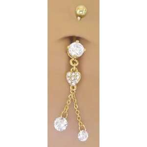 Cz Heart 2 Gem Gold plated Dangle Belly button Navel Ring 14 gauge