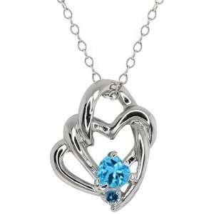 36 Ct Heart Shape Swiss Blue Topaz and Diamond 10k White Gold Pendant