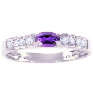 White Gold Oval Gemstone and Diamond Anniversary Ring Amethyst, size8