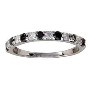 Carat Black & White Diamond 14k White Gold Anniversary / Wedding Ring