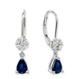 14k White Gold Simple Blue Sapphire Diamond Drop Earrings Jewelry