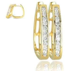 Cut Saddleback 14K Yellow Gold Diamond Huggie Hoop Earrings Jewelry