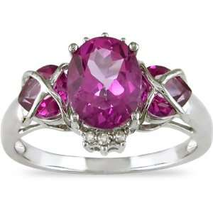 10K White Gold Pink Topaz and Diamond Heart Ring Jewelry