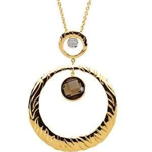 14K Two Tone Gold Smoky Quartz and Diamond Necklace Jewelry