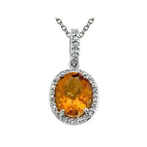 cttw Genuine Citrine Pendant by Effy Collection® in 14 kt White Gold