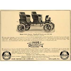 1907 Ad Pope Motor Car Waverly Electric Model 60 A Car   Original