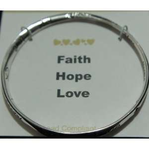 Syms Faith Hope Love Twisted Silver Tone Inspirational