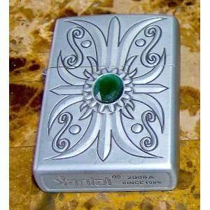 Art Deco Series Faux Green Emerald Silver Engraved