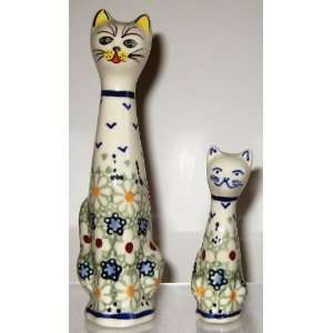 Polish Pottery Set of 2 Cat Statues Figurines 6.3 3.5 LZ Daisy Jane