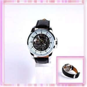 Mechanical Skeleton Watch Hand Wind Up Dial Black Leather Strap W0119