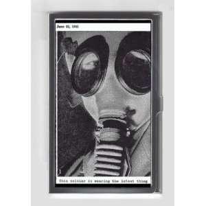 GAS MASK WORLD WAR II 1941 RETRO PHOTOGRAPH Credit/Business Card Case