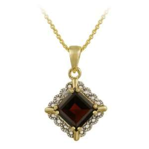 18k Gold Plated Sterling Silver Diamond Accent Garnet Pendant, 18