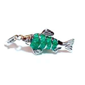 Sterling Silver Green Fish Pendant Charm Jewelry