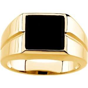 14 karat yellow gold Mens Genuine Onyx Ring Diamond Designs Jewelry