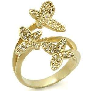 Butterflies Clear Cubic Zirconia Brass Gold Plated Ring AM Jewelry