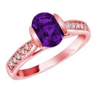 14K Rose Gold Round Oval Amethyst and Diamond Ring   Size