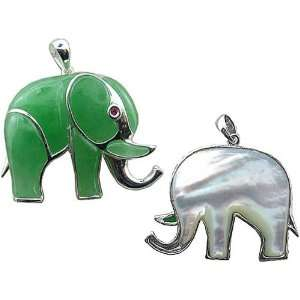 Green Jade Royal Elephant Pendant with Ruby Eye and Mother