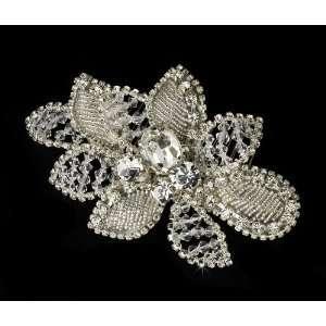 Sparkling Silver Swarovski Crystal Flower Hair Comb Jewelry