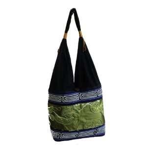 Green Thai Silk Hippie Hobo Shoulder Bag Purse Tote Shoulder Handmade