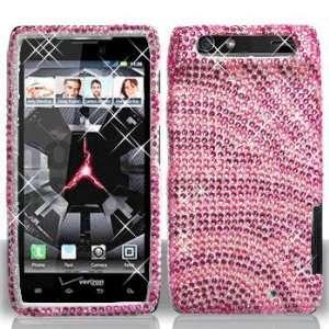 Motorola XT912 RAZR FULL DIAMOND Hot Pink Pink Zebra Case