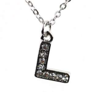 Bling Silver Tone Pendant Necklace with L Initial Pendant