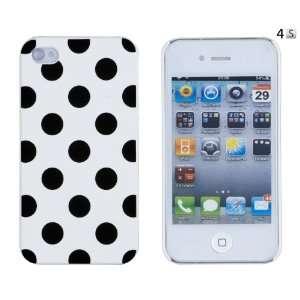 White Polka Dot Embossed Hard Case for Apple iPhone 4, 4S