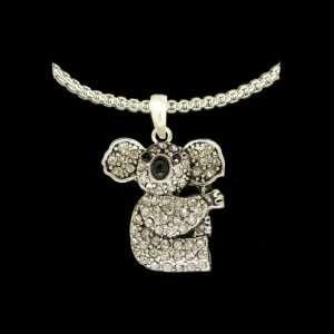 Koala Bears Black & Diamond Rhinestone Sparkling 1 inch long Pendant