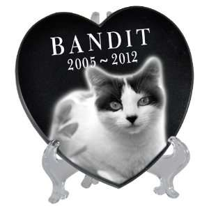 Pet Photo Laser Engraved Black Marble Heart  Small Pet