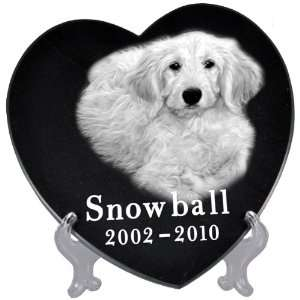 Pet Photo Laser Engraved Black Marble Heart  Medium  Pet