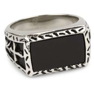 MC by Maksim Stainless Steel Black Agate Mens Ring, Size 11 Jewelry