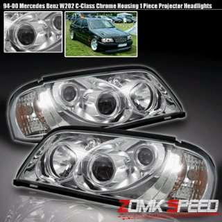 Mercedes C Class Headlights Chrome Pro Headlights With Amber 1994 1995