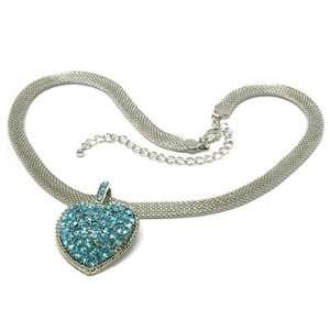 Blue Crystal Heart Pendant Mesh Chain Necklace Fashion